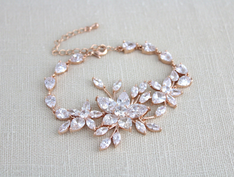Rose gold bracelet bridal bracelet bridal jewelry crystal wedding