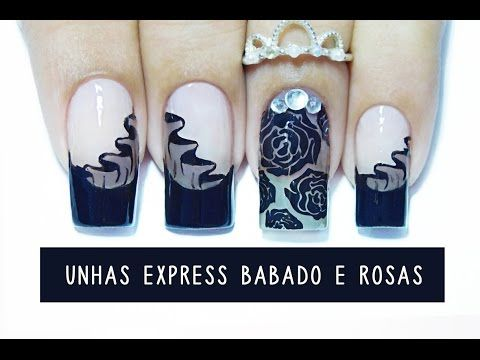 Unhas Express #15 Babadinho e Rosas com efeito Meia calça - carimbando -cupom Born Pretty Store - YouTube