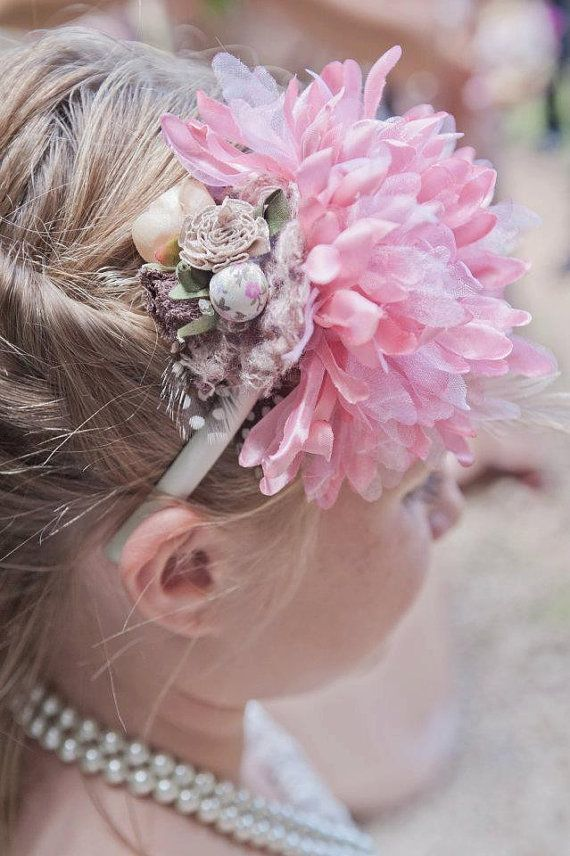Repin to spread the word about my new Etsy shop! Vintage Headband for Flower Girl by littlebabybuttons on Etsy.