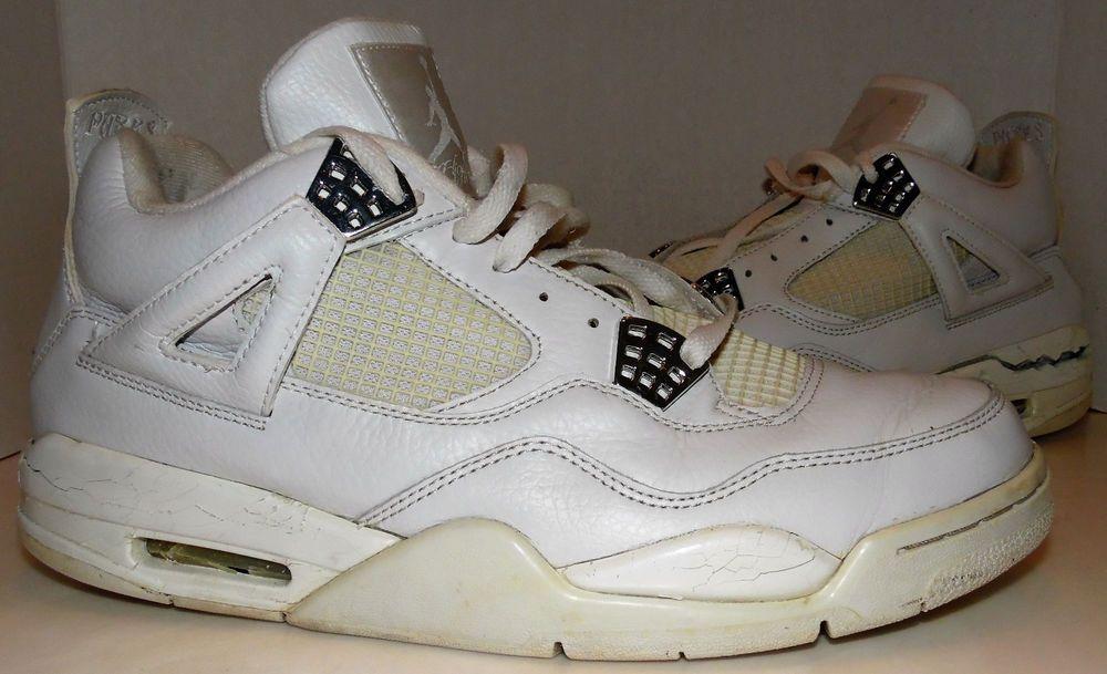 Nike Air Jordan Retro 4 IV Pure Money White/Silver Size 11.5 Needs Sole Swap