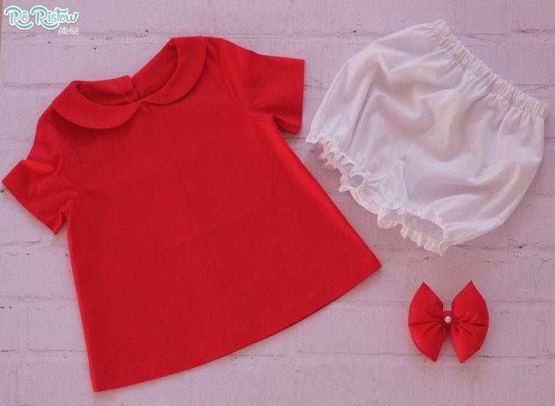 Vestido Vermelho Com Gola Shortinho E Laco Super Fofo