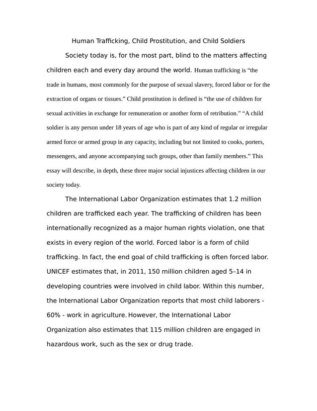 The Issue Of Human Trafficking Child Prostitution And Child  The Issue Of Human Trafficking Child Prostitution And Child Soldiers   Kibin