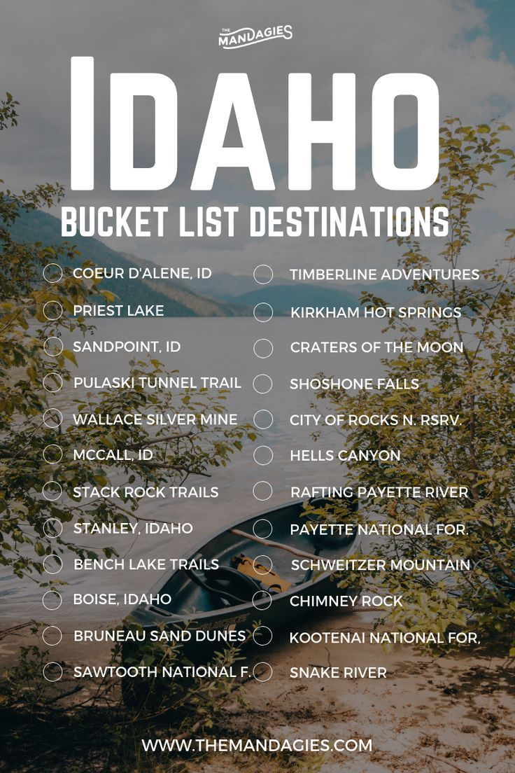 Idaho Adventure Bucket List. This includes stops in Boise, Sandpoint, Coeur d'Alene, Priest Lake, and everywhere in between. Save this pin for Idaho travel inspiration later, and click the link for more Inland Northwest travel tips! #idaho #bucketlist #travel #USA #boise #coeurdalene #shoshonefalls #hotsprings #adventure #outdoors #stanleyidaho #mountains #hiking #nationalforest #sawtoothmountains #sunvalley #cratersofthemoon #bruneausanddunes #mccallidaho