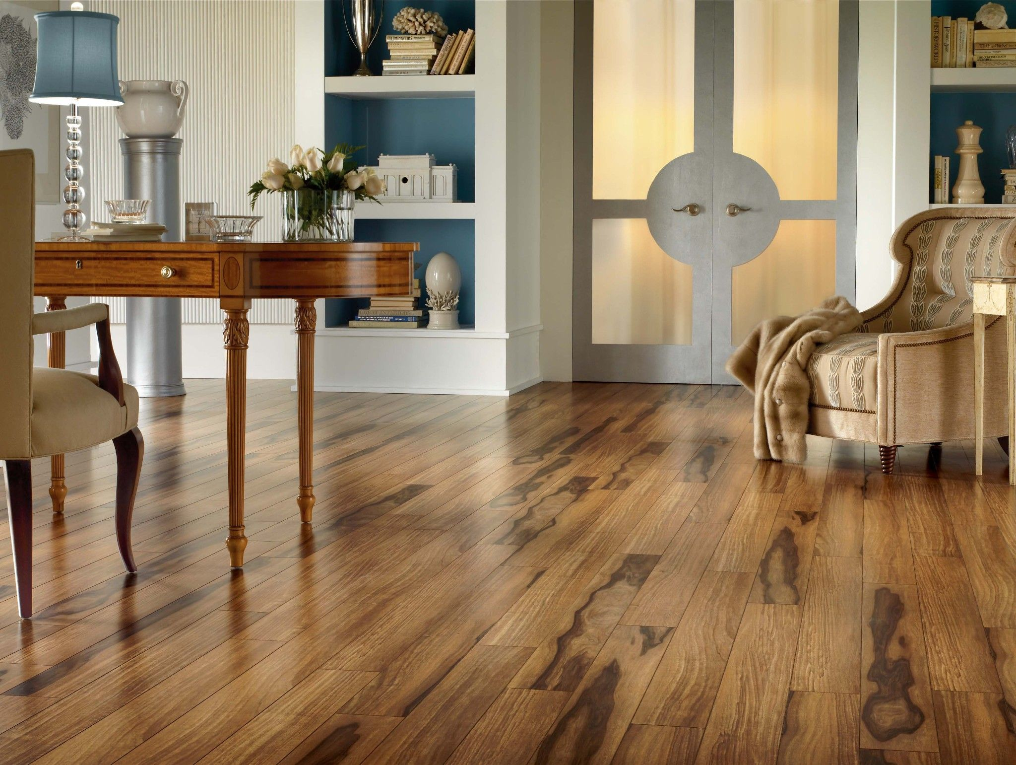White Oak Hardwood Flooring And White Living Room With Brown