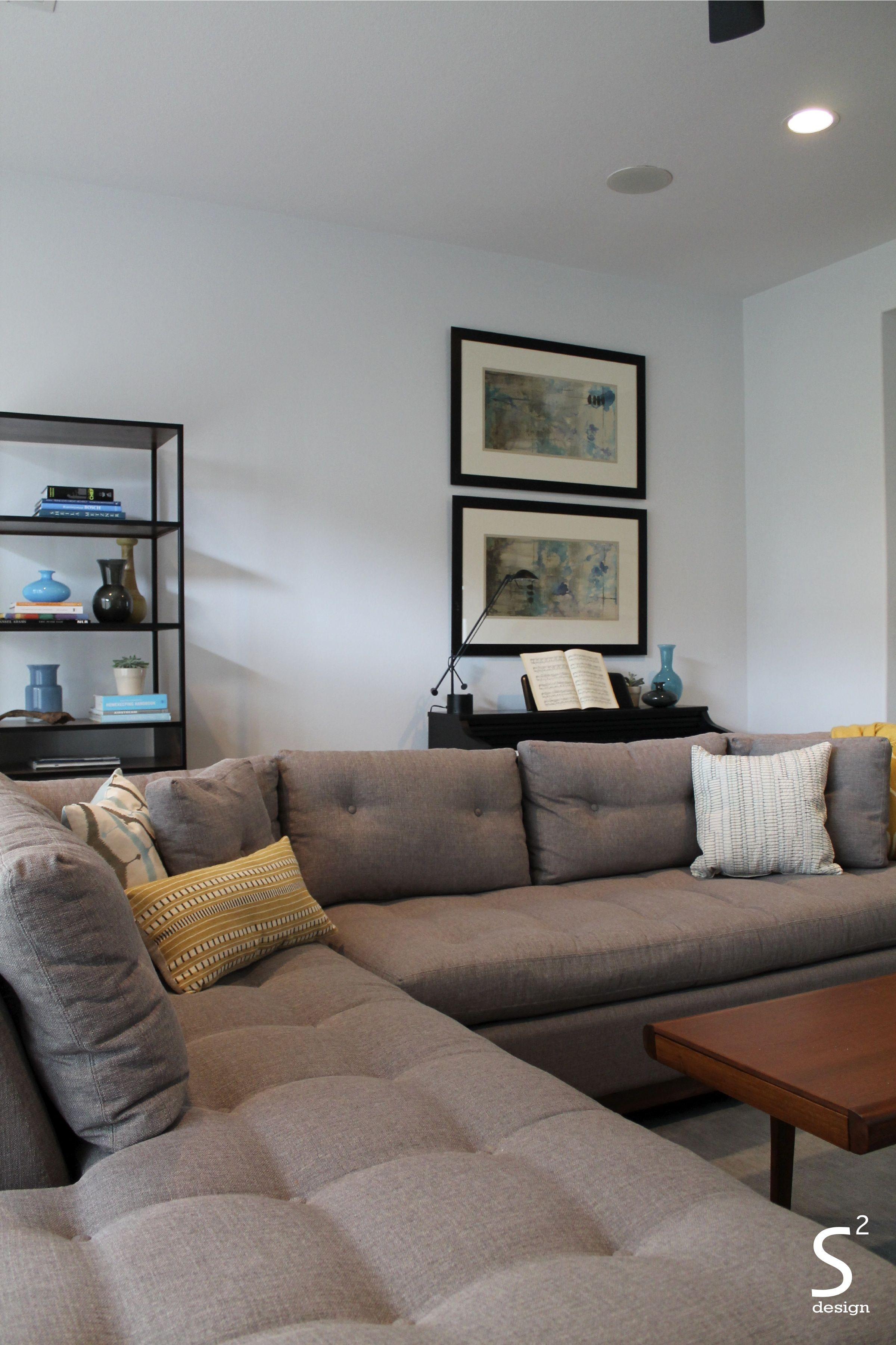 Houston Heights Midcentury Modern Living Room Blue Rug Walnut Coffee Table Grey Tweet