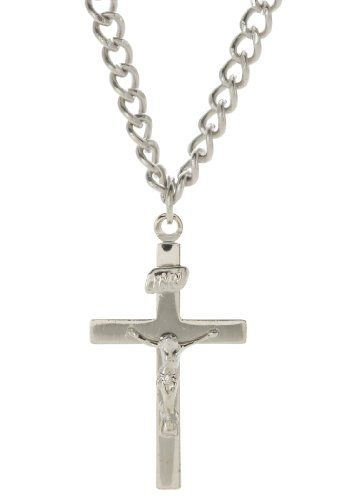 18-Inch Rhodium Plated Necklace with 6mm Crystal Birthstone Beads and Sterling Silver Saint Christopher//Softball Charm.