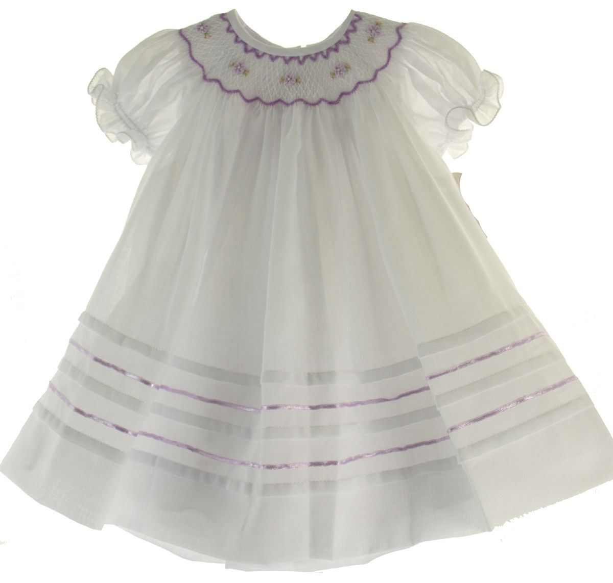 Hiccups Childrens Boutique - Baby Girls White Smocked Bishop Dress with Lavender Smocking Willbeth, $66.00 (http://www.hiccupschildrensboutique.com/baby-girls-white-smocked-bishop-dress-with-lavender-smocking-willbeth/)