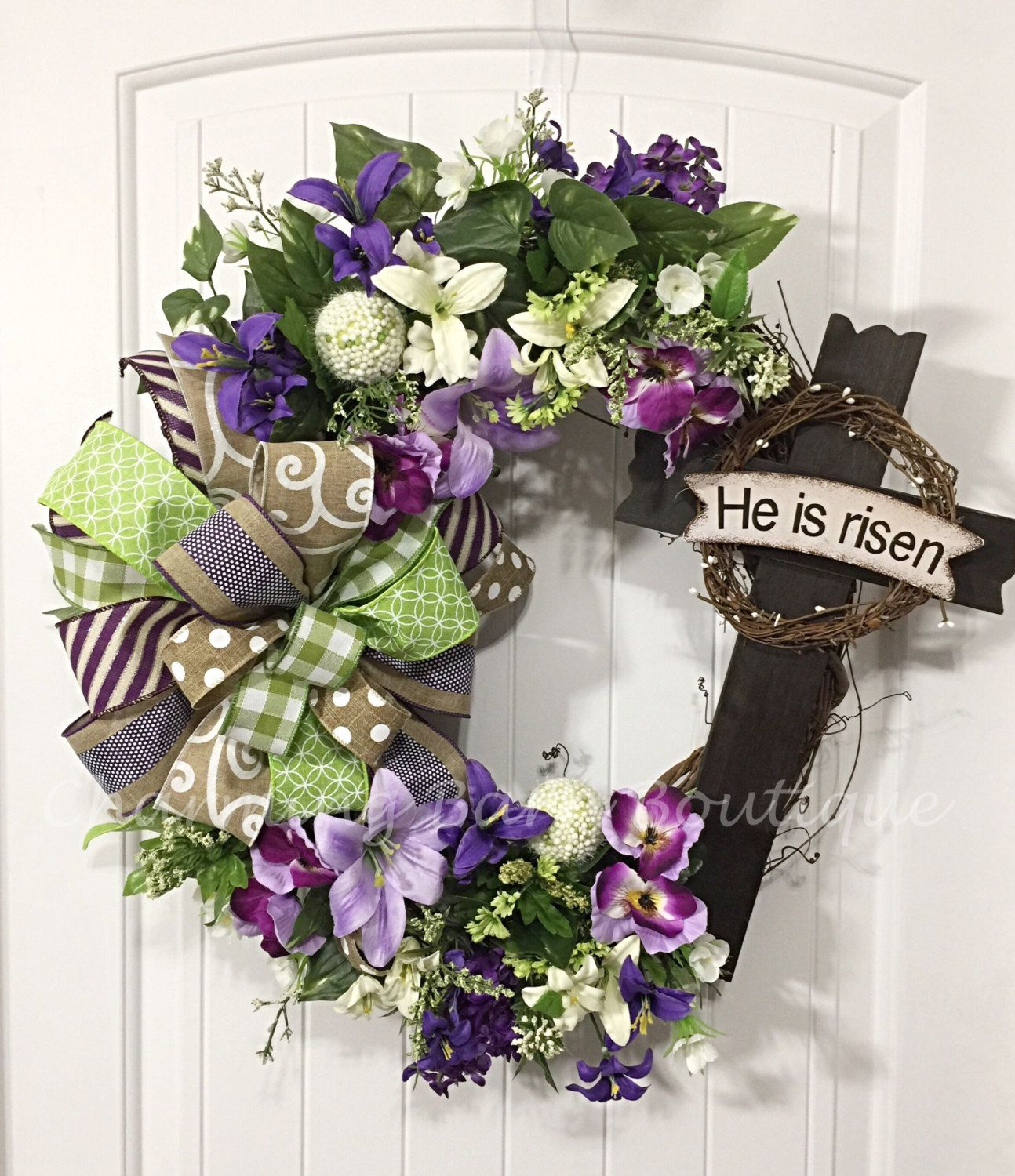 Easter Wreath Floral Grapevine He Has Risen