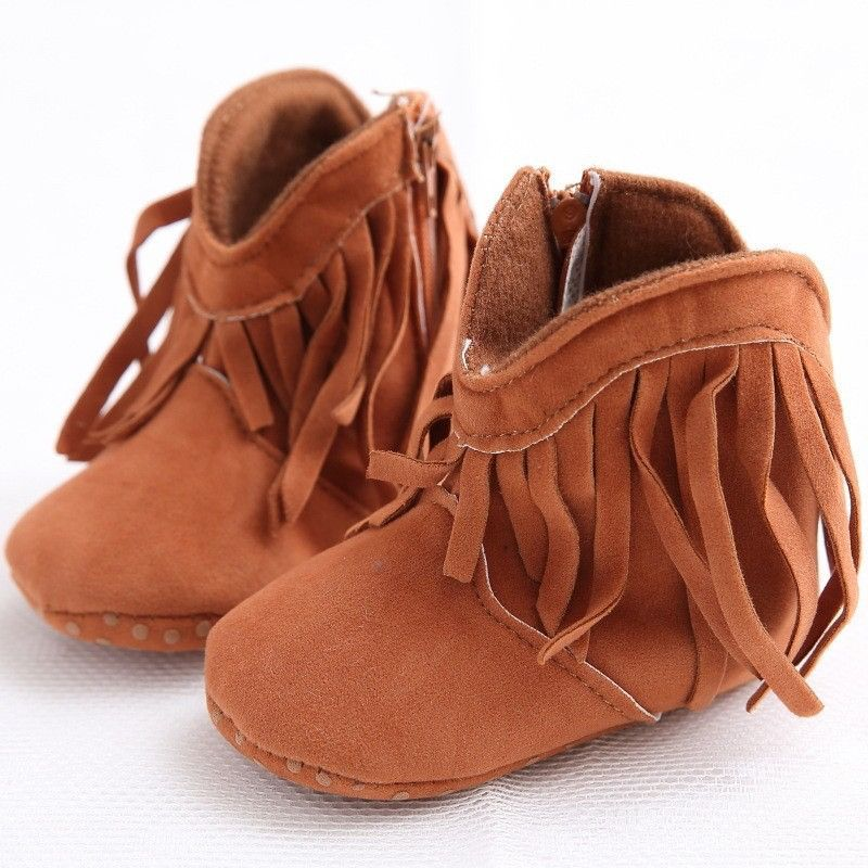 NEW Brown Faux Suede Fringe Cowboy Boots Baby Crib Shoes 0-6 6-12 12-18 M