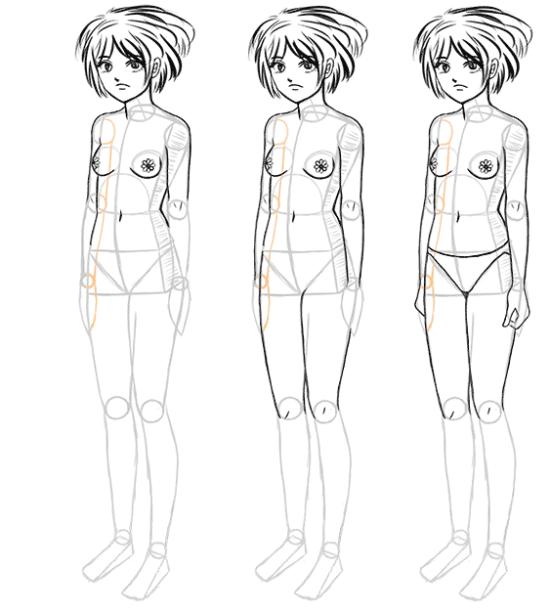 How To Draw Manga Bodies In Three Quarter 3 4 View Manga Tuts Human Drawing Manga Drawing Drawings