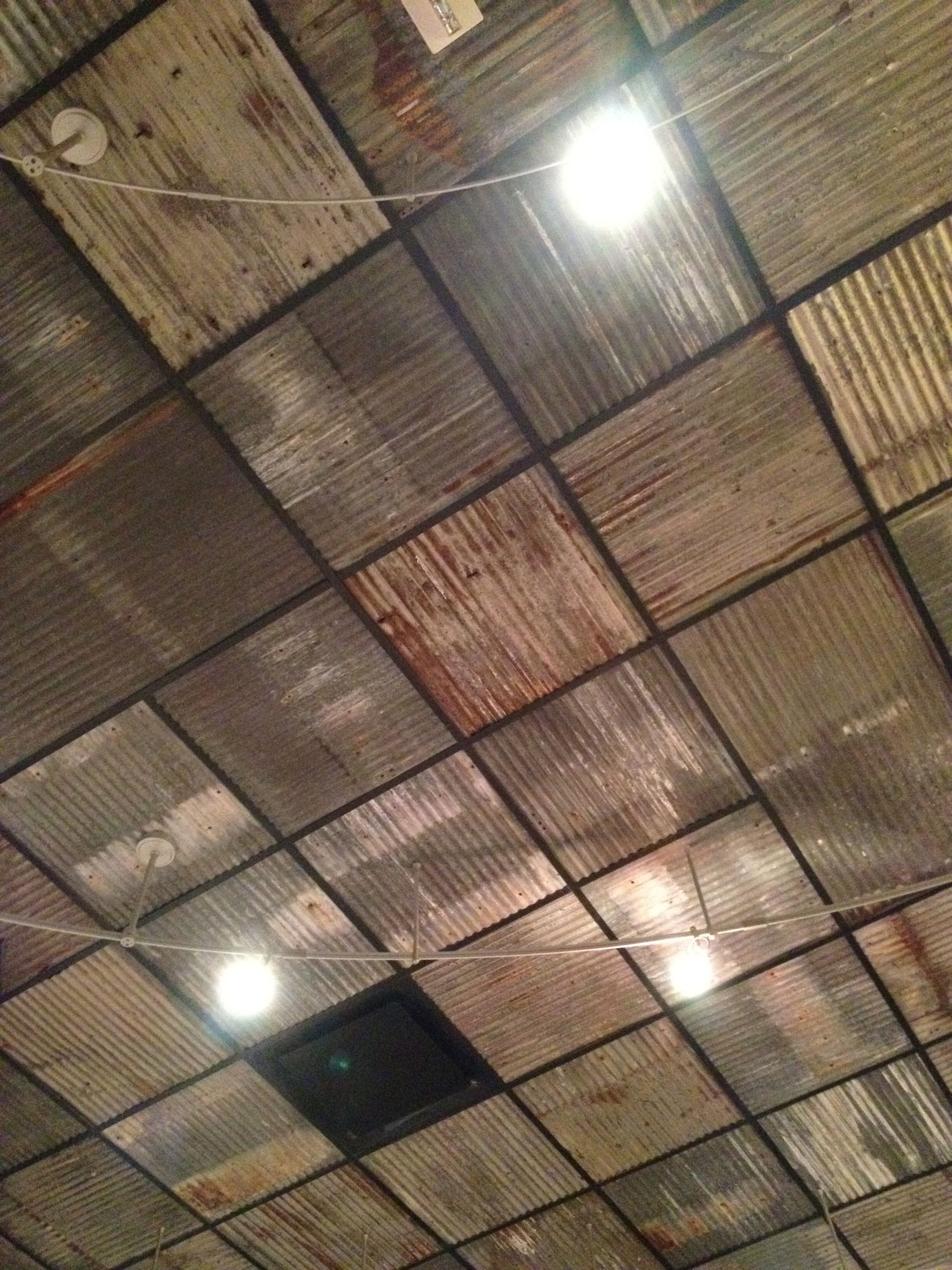 Replace boring ceiling tiles with rusty corrugated metal nice from replace boring ceiling tiles with rusty corrugated metal nice from grimaldis in dallas dailygadgetfo Gallery