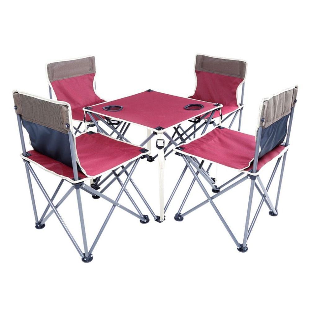 5pcs 1 Set Portable Folding Beach Table 1pcs And Chair 4pcs