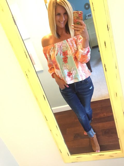 Off the shoulder floral top (such cute spring colors) and distressed jeans