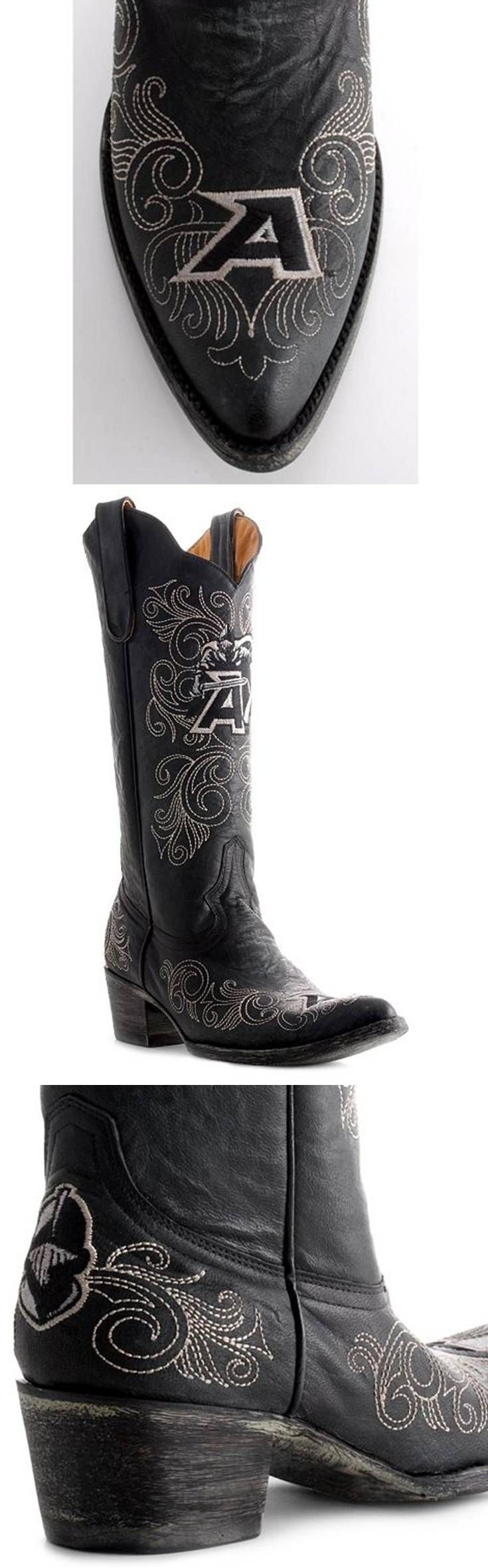 Army - USMA - United States Military Academy Black Knights -West Point - distressed pointed toe cowboy / cowgirl boots with logo