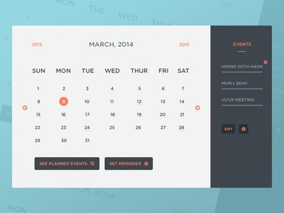 Freebie Psd Calendar Ui  Events  Calendar Ui Ui Ux And Ui