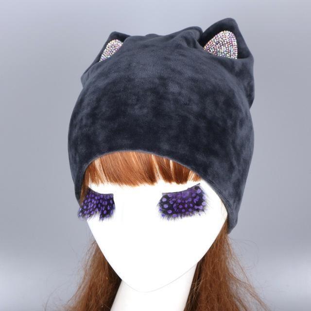 8e1963d291e wholesale women fashion wool winter hat with fox mink pompom luxury  rhinestone skullies girl beauty beanies