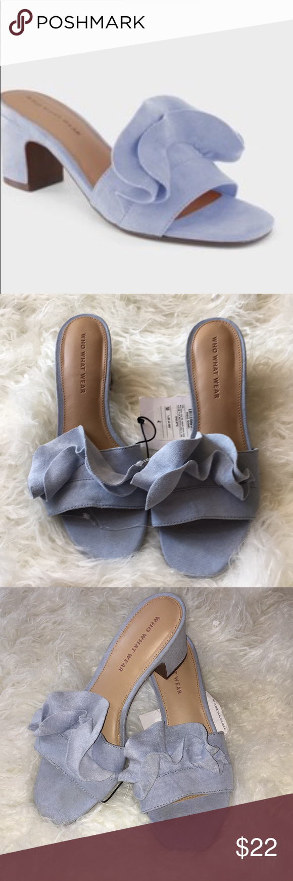 """354a89e98 Who what wear """"zadie"""" heeled slide sandal Who what wear """"zadie"""" heeled  slide sandal Color   blue Size  7 Small flaw in heel in photo Who What Wear  Shoes ..."""