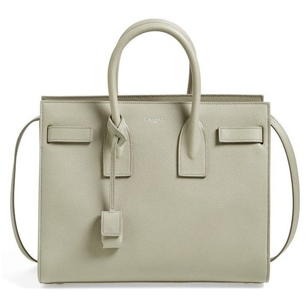 Women's Saint Laurent 'small Sac De Jour' Grained Leather Tote ($2,890) ❤ liked on Polyvore featuring bags, handbags, tote bags, malas, ysl, light grey, full grain leather purse, full grain leather tote, handbags totes and full grain leather handbags