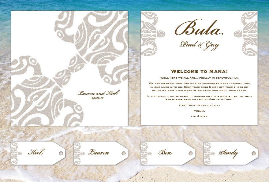 Fiji Wedding Welcome Card and name cards | Invitations | Pinterest ...