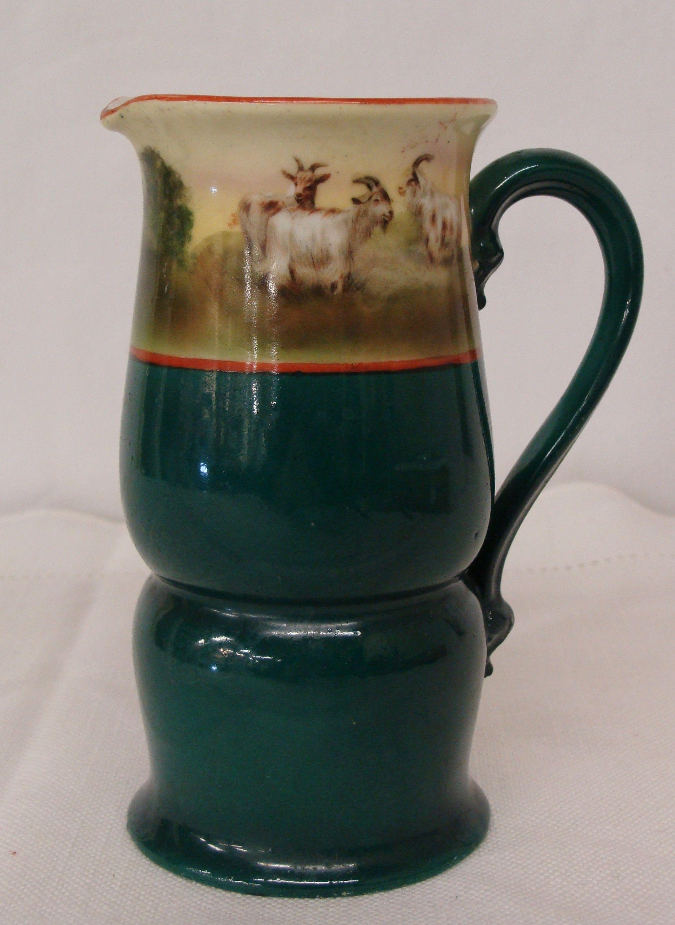 Royal Bayreuth Bavaria Cream Milk Pitcher Green Rams Sheep Goats Blue Mark | eBay