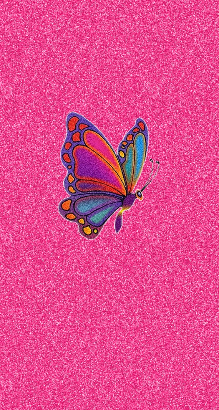 Pink Glitter Colorful Butterfly iPhone Wallpaper | Fondos ...