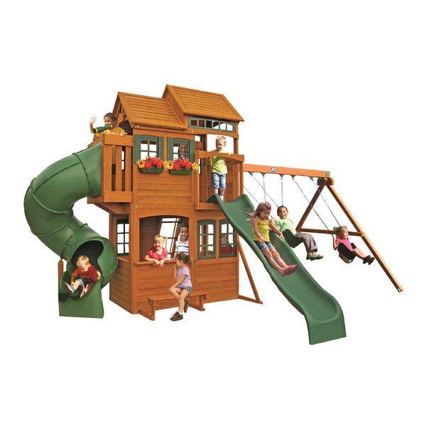 Cedar Summit Deluxe Swing Set | Wooden swing set, Big ...