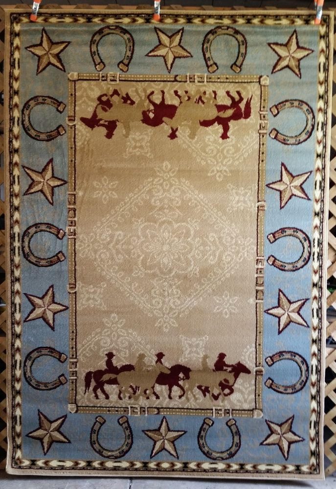 Western Country Southwest Rustic Cowboy Horse Star Lodge Area Rugs Carpets Rugs On Carpet Area Rugs Rugs