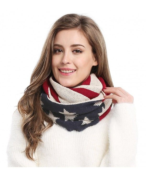 Unisex Thick Warm Us American Flag Winter Knit Infinity Circle Scarf White Red C3126tnkkg7 Infinity Circle Scarf Circle Scarf Loop Scarf