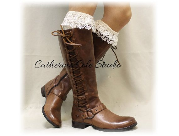 SCARLETT ROSE in Ivory Essence , Southern Charm Collection, lace sock for your boots, Made in America  by Catherine Cole Studio BKS6