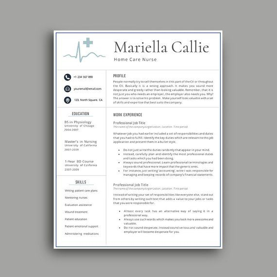 Nurse Resume, Professional Resume Template 1,2,3,4 Page Resume - professional cv writing samples