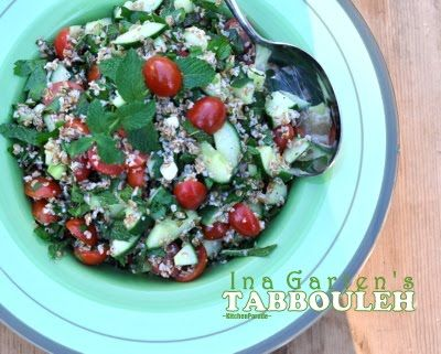 Ina Garten's Tabbouleh Salad, an easy combination of bulgur wheat, lemon juice and olive oil with cucumber, tomato, green onion, fresh parsley and fresh mint. (Recipe hint: the secret ingredient is ... !) © Kitchen Parade.
