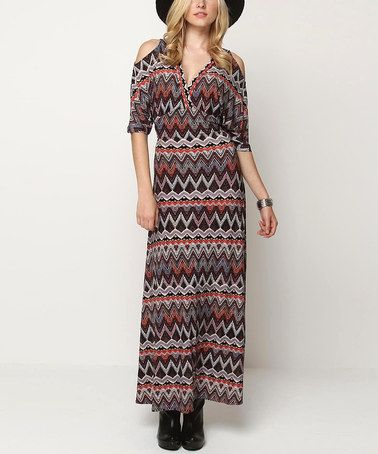 Take a look at this Orange & Gray Lovely Cutout Maxi Dress by Jantie on #zulily today!