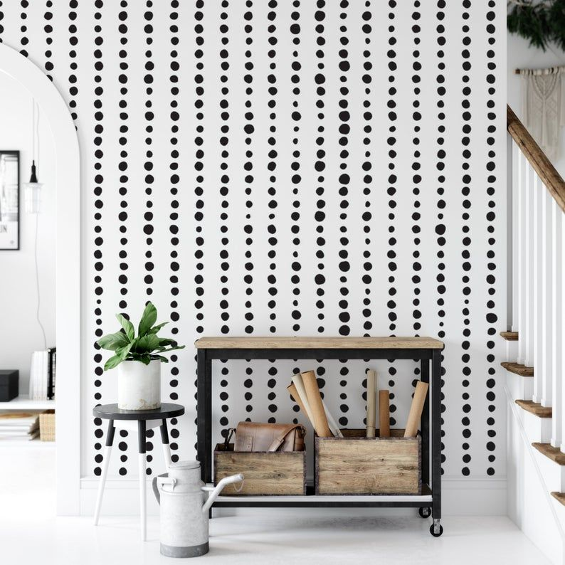 Vertical Lines Of Black Circles Temporary Removable Wallpaper Peel And Stick Self Adhesive Reusable Mural Decor Accent Wall Mw1422 Removable Wallpaper Textured Walls Decor