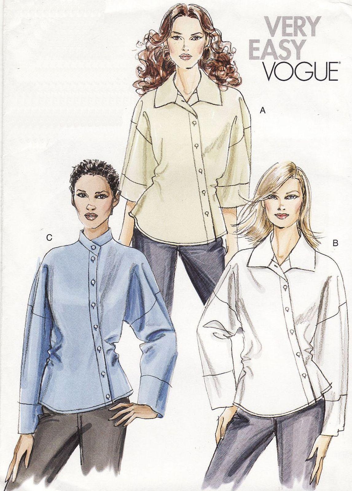 Misses Vogue Office ASYMMETRICAL BUTTON CLOSURE SHIRT Blouse Sew ...