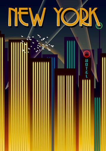 Art Deco Poster New York.Pop Culture Graphics Caddyshack 1980 11 X 17 Style A Vintage