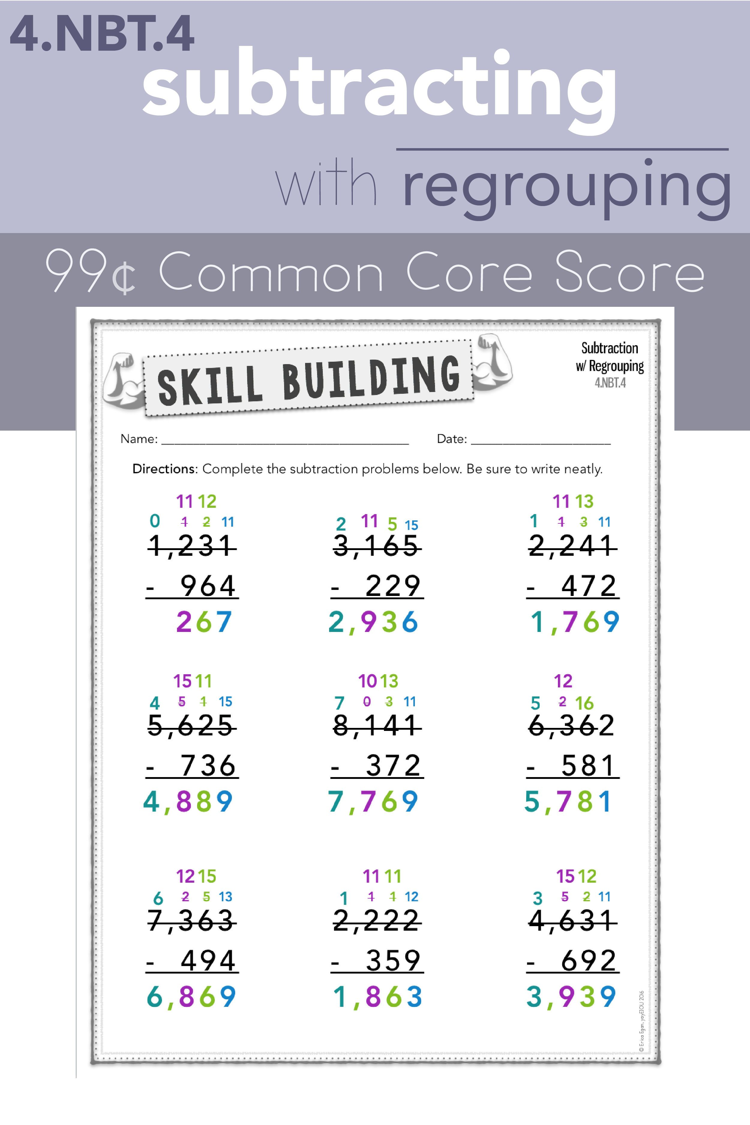 4 Nbt 4 Multi Digit Subtraction With Regrouping With Qr Code Answer Key Guided Math Lessons Subtraction Word Problems Math Division Worksheets [ 3751 x 2500 Pixel ]