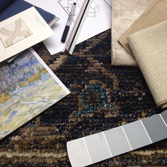 On the drawing board today was the mission to warm up a client's cool blue walls without using warm colors...so we start with a fantastic rug, art and draperies in deep navy, add warm oatmeal-y linen, leather and velvet upholstery and top it all off with warm antique brass lighting and cocktail table for a beautiful result! #mainandgray #mainandgrayhome #interiordesign #fortmill #interiordesign #loloirugs #soichermarin #leeindustries