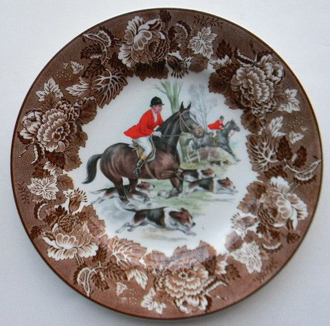 Vintage Brown Transferware English Fox Hunt Scene Plate Dogs Horses Hunting Decor Decorative