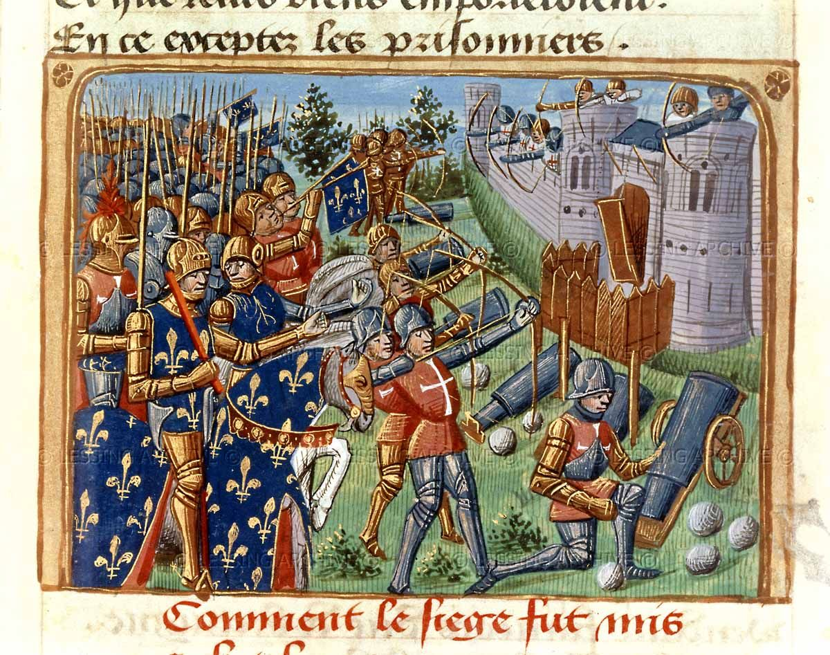"Surrender of Cherbourg to the French under the command of King Charles VII in 1450. From ""Vigiles du feu roi Charles septième"". Illuminated manuscript; France; 15th century.  Bibliotheque Nat.,Coll.des Manuscripts, Paris, France"