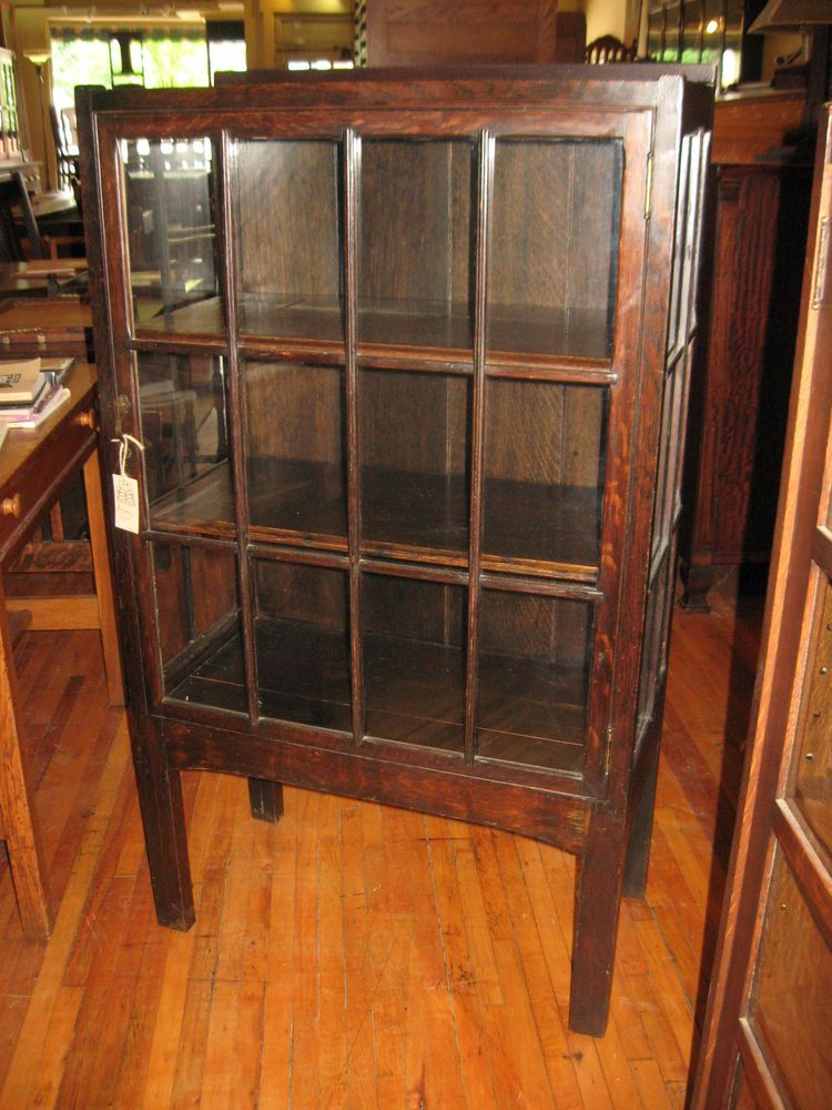 Details About Antique Mission Oak Small China Cabinet Display Case