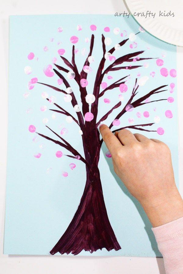 Finger Print Spring Blossom Tree Spring Crafts For Kids Finger Painting For Kids Spring Blossom