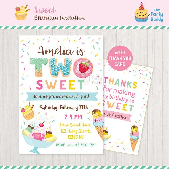 Two Sweet Ice Cream Party Invitation Girls 2nd Birthday Thank