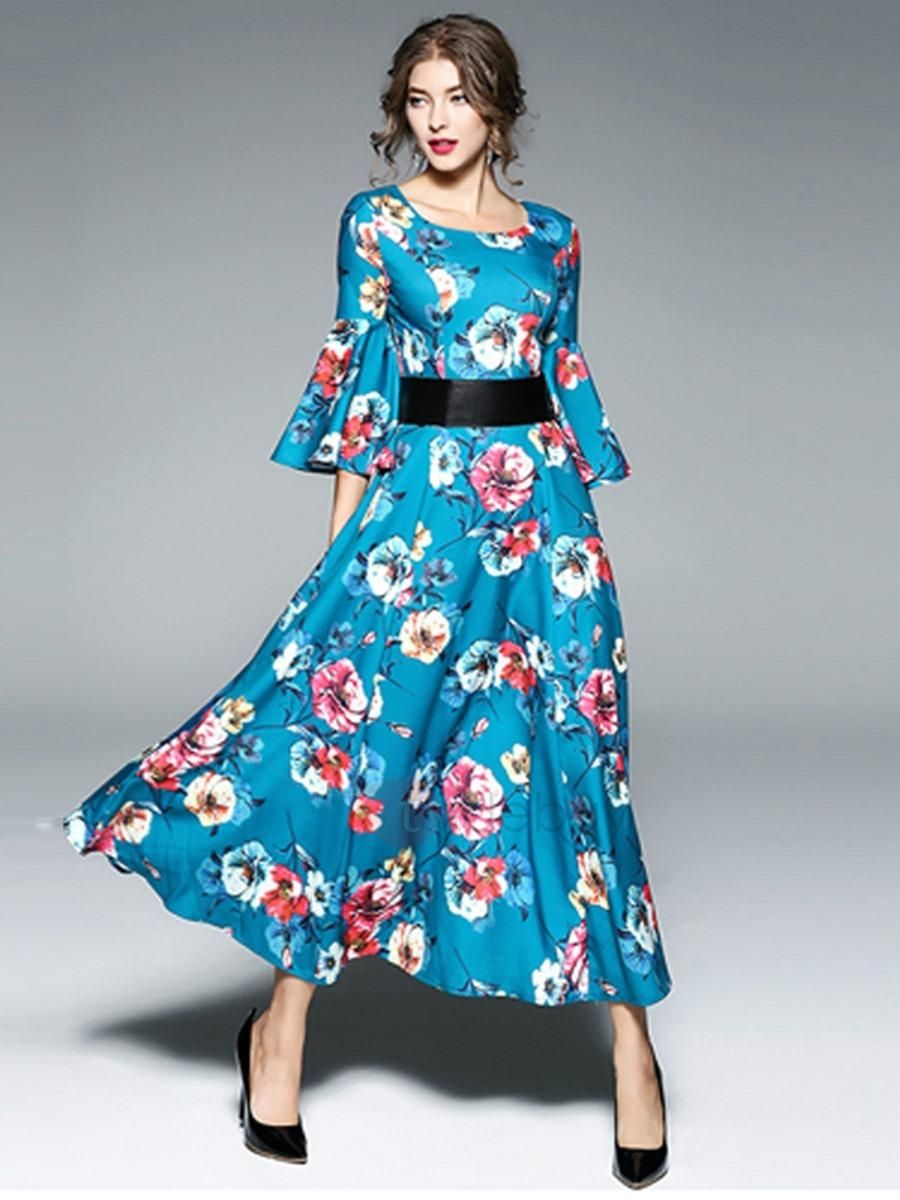 9d1b7c83e2bf #BFCM #CyberMonday #TideBuy - #TideBuy Chic Floral Imprint Round Neck Long  Sleeve Maxi Dress - AdoreWe.com