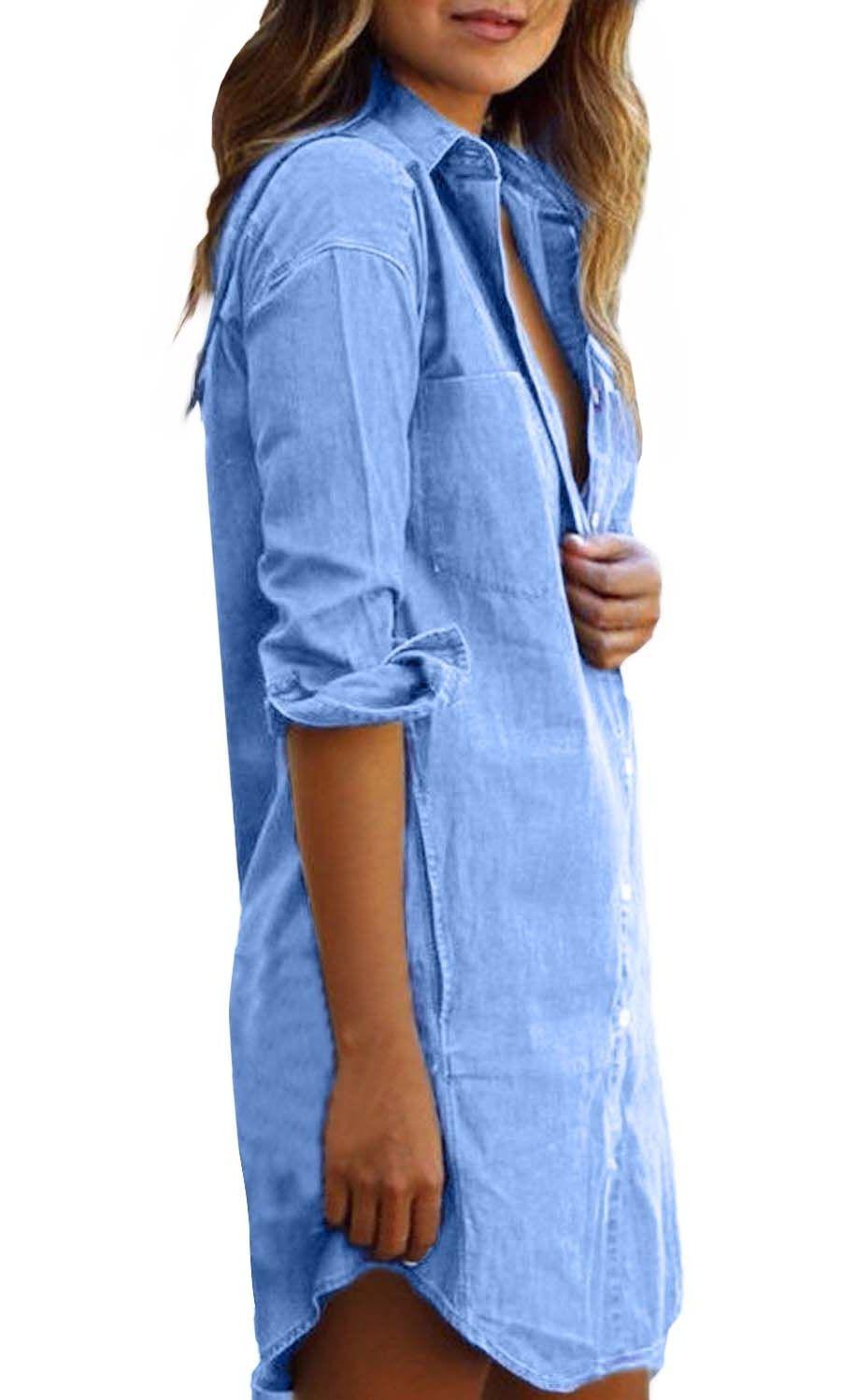 Mtony Llc Women S Long Sleeve Button Down Denim Shirt Dresses Above Knee Walmart Com Denim Shirt Dress Women Long Sleeve Fashion [ 1499 x 900 Pixel ]
