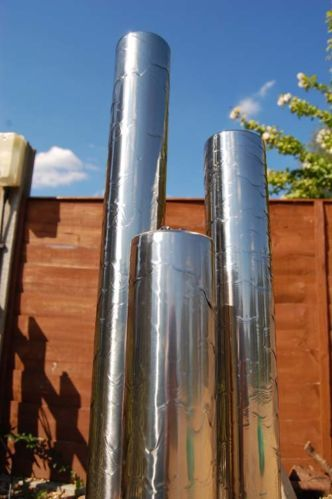 3 Tube Water Feature Fountain Contemporary Silver