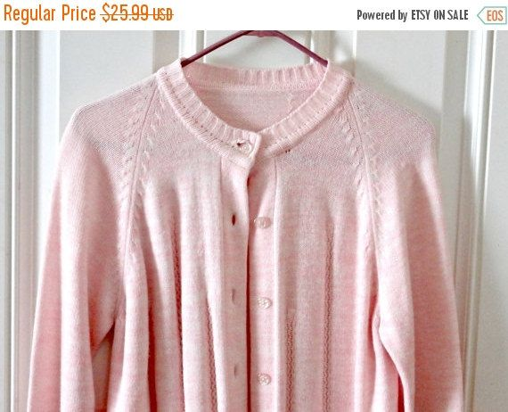 Vintage 60s button up pastel pink cardigan retro pin up sweater ...