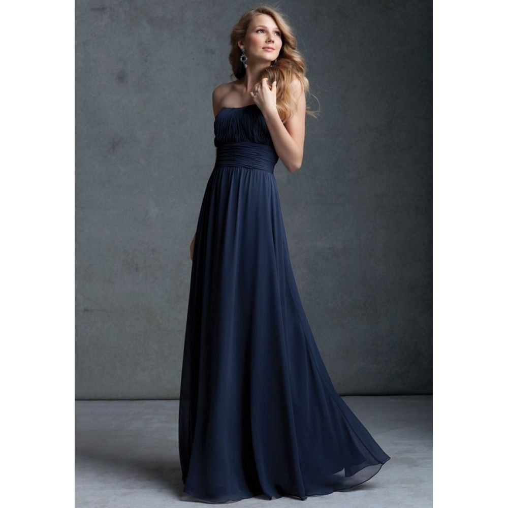 Finest Navy Bridesmaid Dresses Ideas : Navy Blue Chiffon ...
