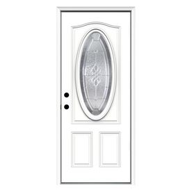 Jeld Wen Hampton Decorative Glass Right Hand Inswing Steel Primed Entry Door  (Common