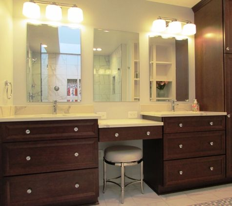 Dark Wood His And Hers Vanity Cabinets For This Gaithersburg - Gaithersburg bathroom remodeling