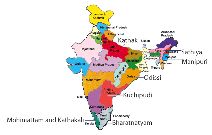 Map showing the states where clical dance forms evolved ... on